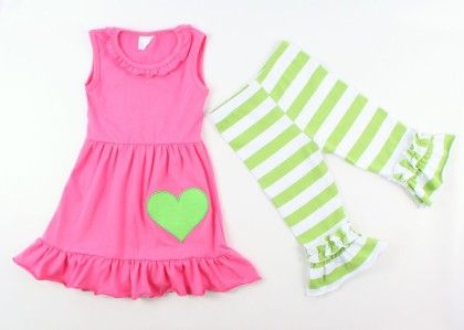 Green & Pink Stripe Ruffle Tunic & Pant Set - AdoraBelle