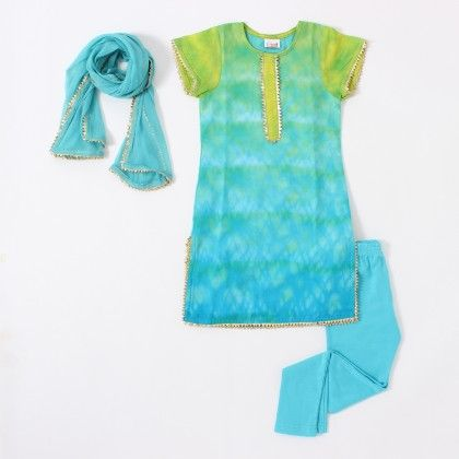 Green & Blue Tie And Dye Kurti Set - The Tiny Threads