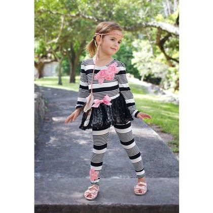 Crème/black Long Sleeve Top And Skirted Leggings - Mia Belle Baby