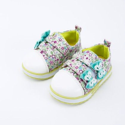 Green Multi Floral Print With Bow Shoes - Kabu Shoes