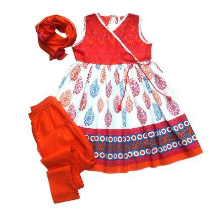 Girls Angrakha-pyjami Suit Set - Multicolour Block Print - Campana