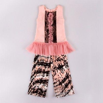 Pink/black Drop Waist Peplum Top & Matching Palazzo Pants - Mia Belle Baby