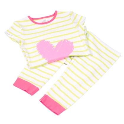 Green White Stripe With Heart Placement Print On Top - Mackily