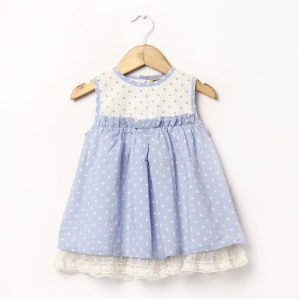 Light Blue And White Dress With Dots - Hugs & Tugs