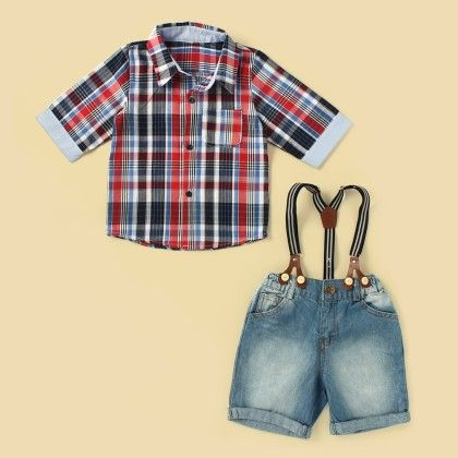 Checked Shirt With Smart Denim Suspender Shorts - Lil Mantra
