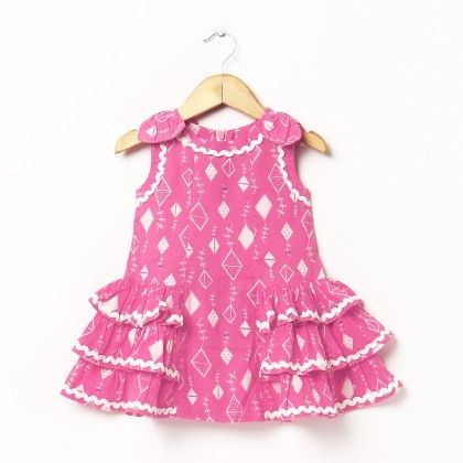 Pink Kite Print Dress With Bow On Shoulder - Hugs & Tugs