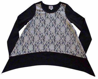 Sharkbite Tee With Hangdown,black With Lace Front Overlay - Dedo Kids