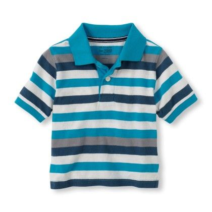 Short Sleeve Contrast Stripes Polo - Sky - The Children's Place