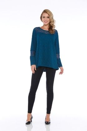 L/s Knit Lace/jacquard Textured Tunic Top - Teal - Kaktus