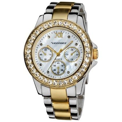 Women's Dazzling Two Tone Boyfriend Mother Of Pearl Faux-chrono Bracelet Watch - Vernier Watches