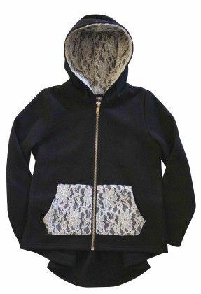 Fleece Zip-up Hooded Jacket With Lined Hood, Kangaroo Pocket,black/lace - Dedo Kids
