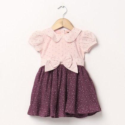 Pink And Maroon Star Print Dress With Bow In Front - Hugs & Tugs