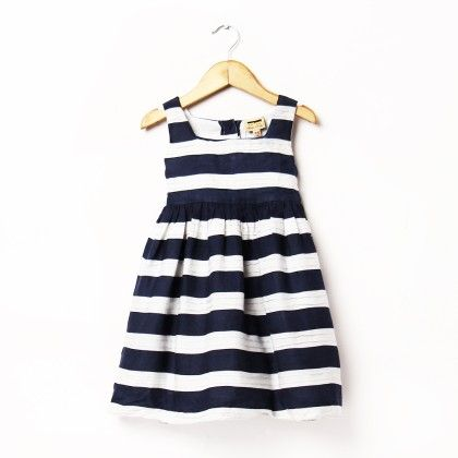 Blue And White Stripe Print Dress With Pintucks - Hugs & Tugs