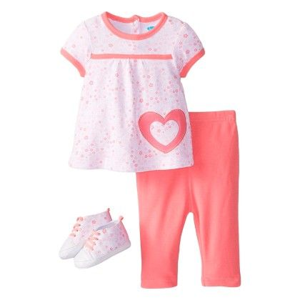 Baby-girls Newborn Flowers And Hearts 4 Piece Pant Set With Sneakers - Bon Bebe