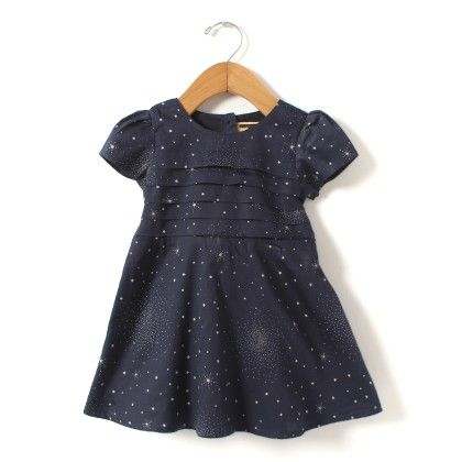 Star Print Navy Dress With Pleats At Front - Hugs & Tugs