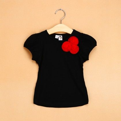 Black Flower Applique Top - The Aria Collection