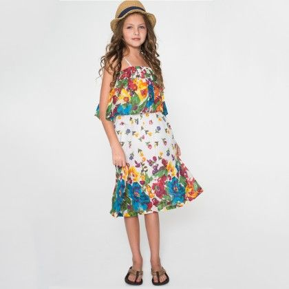 Red & Blue Floral Ruffle A-line Dress - Toddler & Girls - Yo Baby