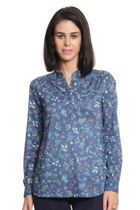Women Blue Printed Top - Cotton World
