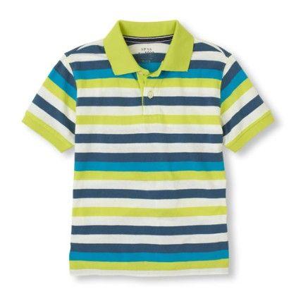 Short Sleeve Contrast Stripes Polo - Splash - The Children's Place