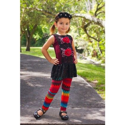 Red/black Drop Waist Peplum Top With Matching Leggings - Mia Belle Baby
