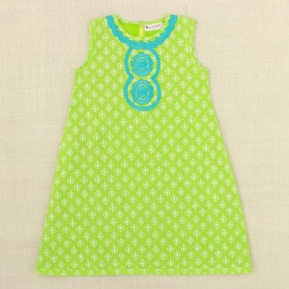 Green Dress With Blue Embroidery - Punkster