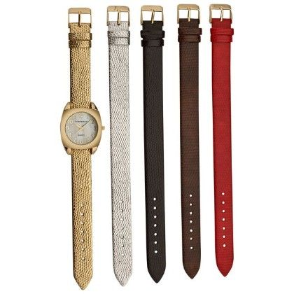 Women's Gold Tone Case Five Interchangeable Metallic Strap Watch - Vernier Watches