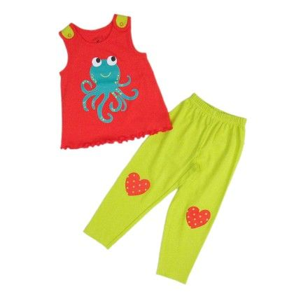 Mandarin Red & Octopus Placement Print On Top And Limeade & Heart Print On Pant - Pyjama - Mackily