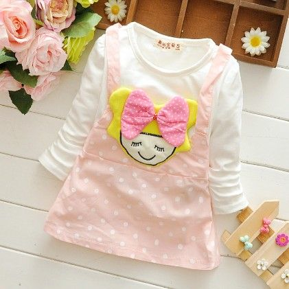 Cute Pink Polka Dot Dress With Doll Applique - Mellow