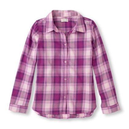 Long Sleeve Button-down Plaid Shirt - The Children's Place