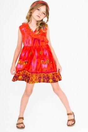 Red Floral Ruffle Surplice Dress & Headband - Toddler & Girls - Yo Baby