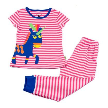 Pink White Yd Stripe With Horse Placement Print On Top - Mackily
