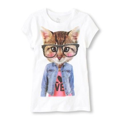 Short Sleeve  Cat Graphic Tee - The Children's Place