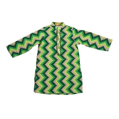 Green Zig Zag Print Kurta With Lining - Shruti Jalan