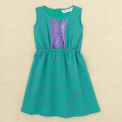 Turquoise & Purple Print Dress With Sequence - Punkster