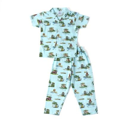 Allover Beach Print Night Suit - Blue - Ollypop