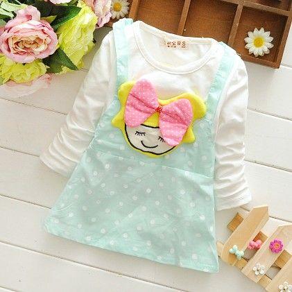 Cute Blue Polka Dot Dress With Doll Applique - Mellow
