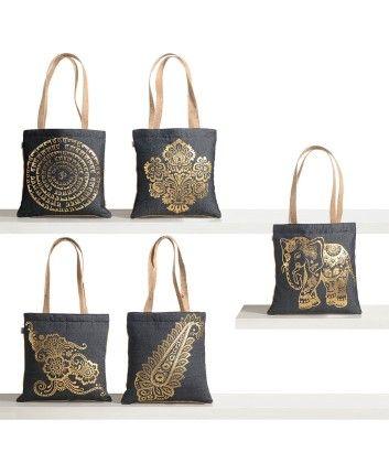 Denim Foil Printed Jute Mini Bag (set Of 5 Pcs) - Swayam