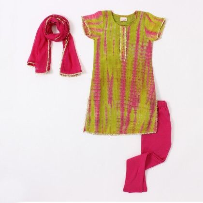 Green & Pink Tie And Dye Kurti Set - The Tiny Threads
