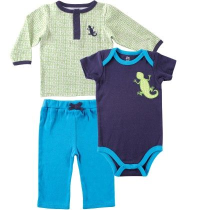 Yoga Sprout Long Sleeve Tee Top, Pants, And Bodysuit Set, Lizard