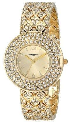 Vernier Paris Women's Triple Row Crystal Bezel & Bracelet Watch - Vernier Watches