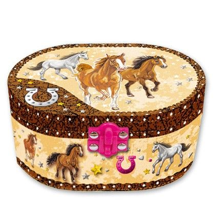 Oval Shaped Musical Jewelry Box - Dashing Horse - Hot Focus Toys