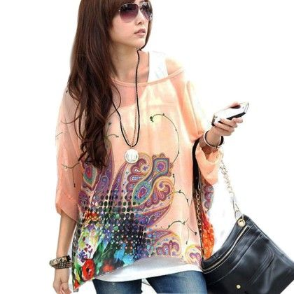 Batwing Sleeve Sheer Loose Plus Size Prints T-shirt Blouses Tops Pink - ANDIROSE