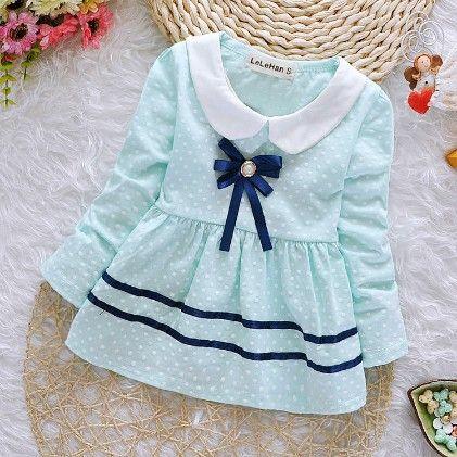 Peach Girl Pretty Classy Blue Polka Dot Dress