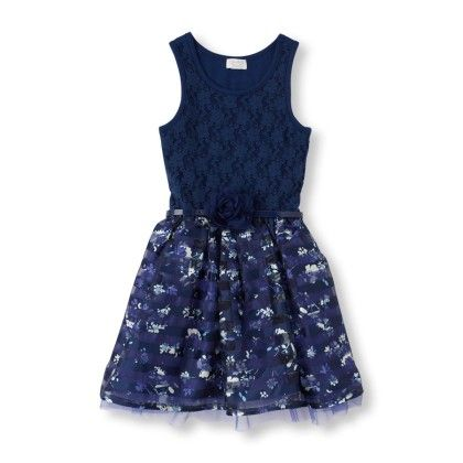 Sleeveless Blue Floral Print Tutu Dress  - Blue - The Children's Place