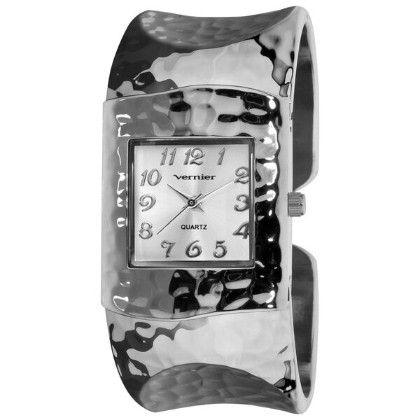 Vernier Women's Fashion Silver Tone Hammered Bangle Watch - Vernier Watches