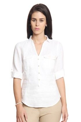 Women White Linen Top - Cotton World