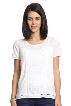 Women White T-shirt With Lace Panel - Cotton World