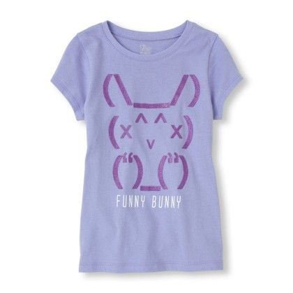 Short Sleeve 'funny Bunny' Glitter Graphic Tee - The Children's Place