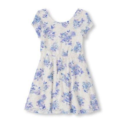 Short Sleeve Rose Print Lace Skater Dress - The Children's Place