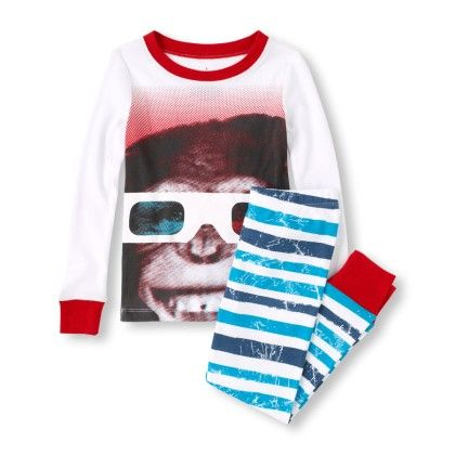 Long Sleeve Chimp Top & Striped Pants Pj Set - The Children's Place